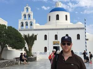 Jeroen Massar in Thira, Santorini, Greece